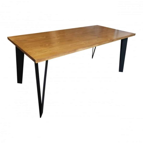 "Solid wood pine table with ""V"" shaped steel legs"